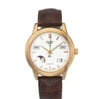 6. glashütte | a yellow gold automatic center seconds perpetual calendar wristwatch with moon phases circa 2002