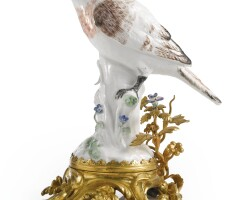 5018. a continental porcelain figure of a finch mounted in louis xv-style ormolu the porcelain late 19th century