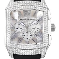 10. mauboussin | délit chronographa stainless steel and diamond-set chronograph wristwatch with mother-of-pearl dial, circa2005