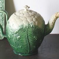 29. william greatbatch lead-glazed cream-colored earthenware cauliflower teapot and a cover circa 1765-70