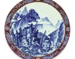 15. plaque en porcelaine bleu blanc et de la famille rose dynastie qing, xviiie siècle  