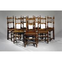 41. a set of eight italian walnut dining chairs 16th century