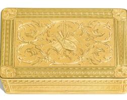 3. an 18 ct gold musical snuff box, the movement geneva, the box probably hanau, circa 1820 | an 18 ct gold musical snuff box, the movement geneva, the box probably hanau, circa 1820