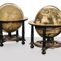 207. a pair of 17th century hand-coloured engraved paper gores and wooden and ebonised dutch table globes, amsterdam, the celestial globe by joan blaeu dated 1603 but realised circa 1621, the terrestrial globe by jan jansz. van ceulen, circa 1682