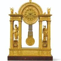 95. grande pendule portique en bronze doré d'époque empire