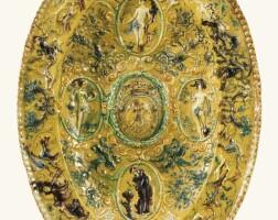 6. plat ovale en terre vernissée d'avon ou du pré d'auge de la fin du xvie/début du xviie siècle