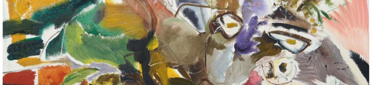 An Ivon Hitchens Flower Painting in an auction selling British Art