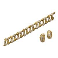 8. pair of diamond ear clips, m. gérard, and a diamond bracelet