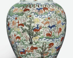 12. a large and important wucai 'hundred deer' vase wanli mark and period