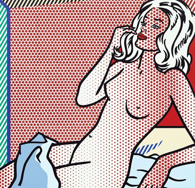 Nude woman sunbathing rendered in Lichtenstein's trademark benday-dot style.