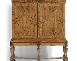 67. a dutch walnut, figured walnut, fruitwood and ebony cabinet on stand baroque, circa 1680-1690