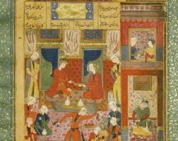 68. an illustrated and illuminated leaf from nizami'shaft paykar:king bahram in the red pavilion listening to the story of the princess of the fourth clime,persia, safavid, 16th century