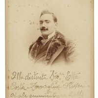 173. caruso, enrico. fine early cabinet photograph signed and inscribed in brown ink