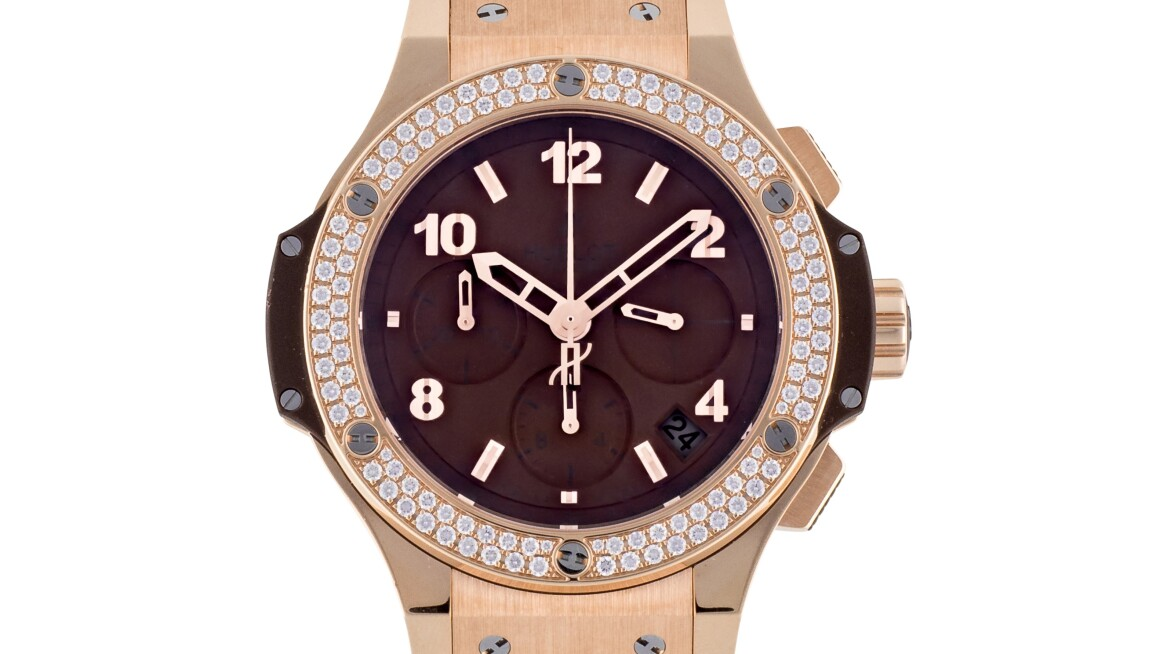 Hublot pink gold chronograph watch diamonds