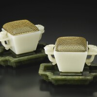 42. a pair of small square white jade cups qing dynasty, 18th century