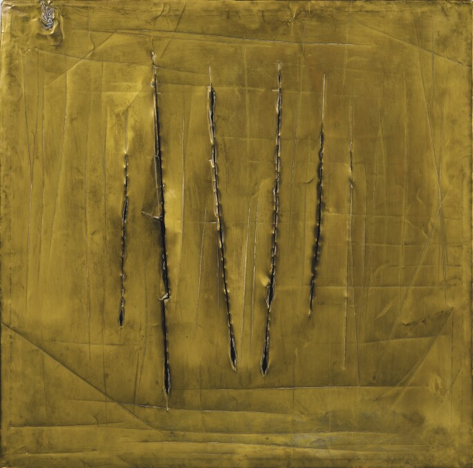 Lucio Fontana, Concetto Spaziale, New York 8, 1962. Lacerations and scratches on brass.