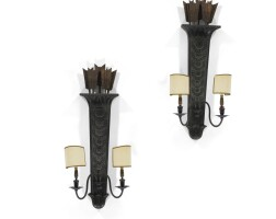 13. a pair of neo-classical style ebonisedand parcel-gilt wall lights, circa 1920, possibly maison jansen |