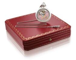 38. cartier | a platinum skeletonized open-faced keyless watch with platinum chain, circa 1990