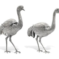 2. a matched pair of silver ostriches, probably german, import marks of e.t. bryant and s. b. landeck, london, 1892