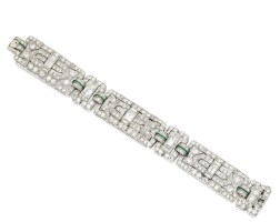 124. platinum, diamond and emerald bracelet, circa 1930