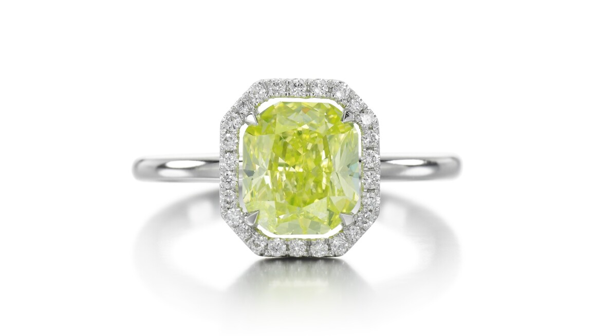 green yellow diamond ring