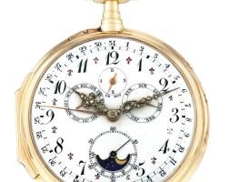 195. l. leroy & cie. | 粉紅金手動上鏈萬年曆懷錶,年份約1800。