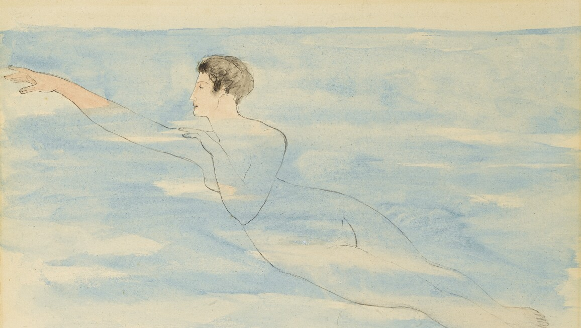 A drawing of a woman with short black hair swimming nude through pale blue water.