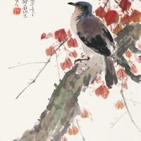 2723. chen shuren (1884-1948); zhao shao'ang (1905-1998) | bird on autumn branch