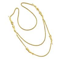 1303. karat gold long chain 'panther' necklace, cartier