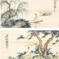 1208. 陳緣督 江皐獨懷 | 設色紙本 兩幀 鏡框