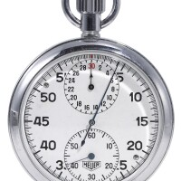 2. heuer   a stainless steel stopwatch with registerscase 279390 circa 1970