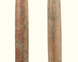 8. a pair of pink and grey marble columns, 18th century, on later grey marble bases  