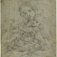 315. giovanni lanfranco | recto: the madonna and child possibly with st. john the baptist verso: various studies, including the head and bust of a woman and a drapery study