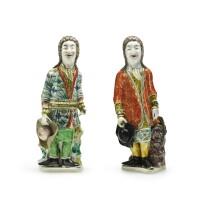 319. two rare chinese export figures of european gentlemen, qing dynasty, kangxi period, 1700-15 |