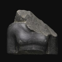 1. a fragmentary egyptian basalt bust of a man, 26th dynasty, 664-525 b.c., or earlier | a fragmentary egyptian basalt bust of a man