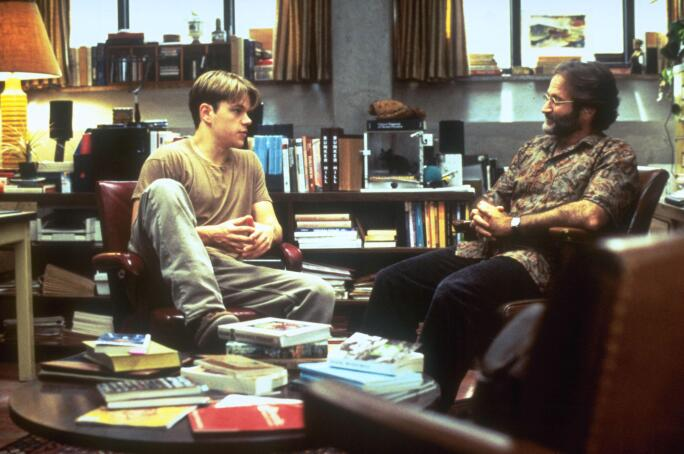 Matt Damon with Robin Williams  in Good Will Hunting.