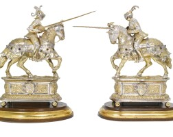704. a pair of german parcel-gilt silver models of equestrian jousting knights in armour, importer's mark of thomas cook & son ltd., london, 1932