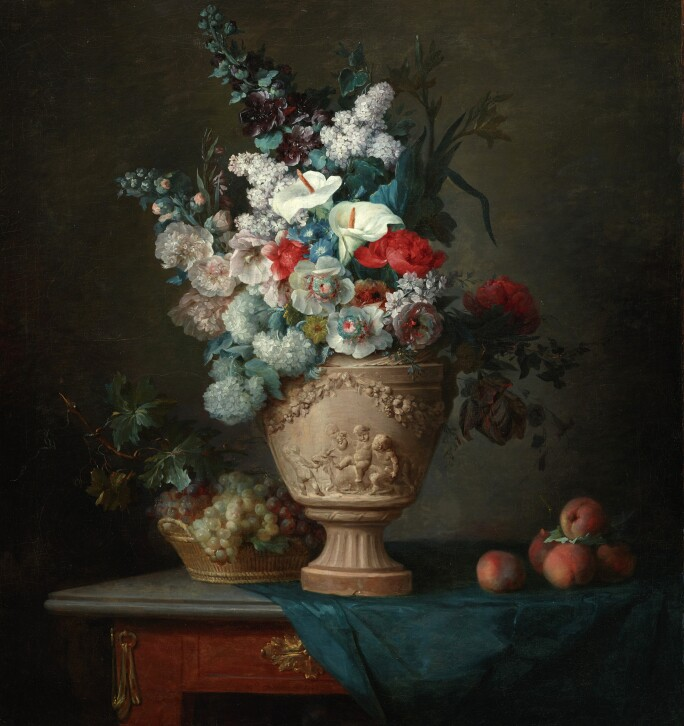 Anne Vallayer-Coster, Bouquet of Flowers in a Terracotta Vase with Peaches and Grapes, 1776