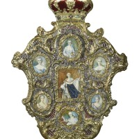 34. a jewelled parcel-gilt silver frame with secret erotica miniatures, possibly late 18th century and later