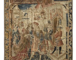 8. a rare tapestry from the 'condamnation de bancquet' serie, probably tournai, early 16th century |