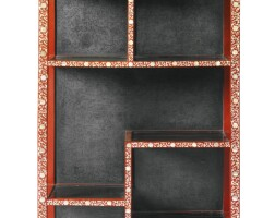20. a mother-of-pearl inlaid red lacquer cabinet ming dynasty or later