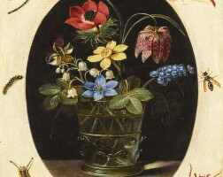 25. clara peeters | still life with flowers in a glass vase surrounded by insects and a snail