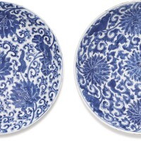 3. two chinese blue and white 'lotus' dishes qing dynasty, kangxi period |