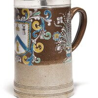 604. an extremely rare and fine english brownstoneware largearmorial tankard, with silver mount circa 1705 |