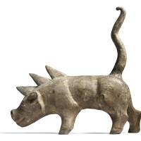 3008. a rare grey pottery figure of a boar six dynasties |