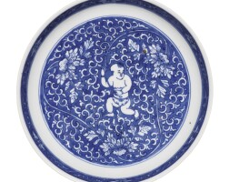 7. a blue and white 'boy and lotus' dish kangxi mark and period |