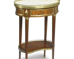 36. a louis xvi ormolu-mounted plum-pudding mahogany table à écrire circa 1780, stamped c. topino jme