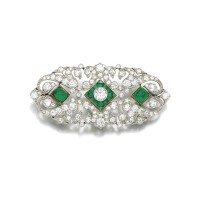 23. emerald and diamond brooch, early 20th century and later