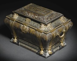 21. a louis xiv gilt-bronze mounted pewter, brass, tortoiseshell and ebony boulle marquetry coffre en tombeau, attributed to andré-charles boulle, circa 1690