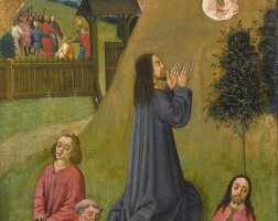 101. french school, possibly amiens, circa 1480 | christ in the garden of gethsemane, with simon peter cutting off the ear of malchus beyond